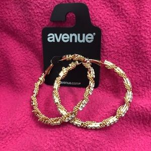 AVENUE Gold/Rhinestone Hoop Earrings